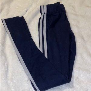 Blue double striped leggings